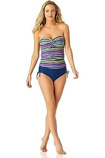 ddd243e3bd4e6 Anne Cole Women's Solid Twist Front Shirred Bandeau Tankini Swim Top ...
