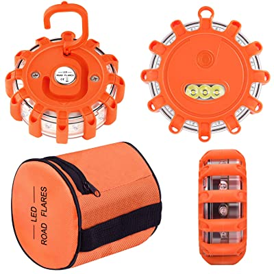 Vancle LED Road Flares Flashing Warning Light Roadside Flare Emergency Disc Beacon Kit, Magnetic Base with Hook for Car or Boat (Batteries Not Included) (set of 3): Automotive