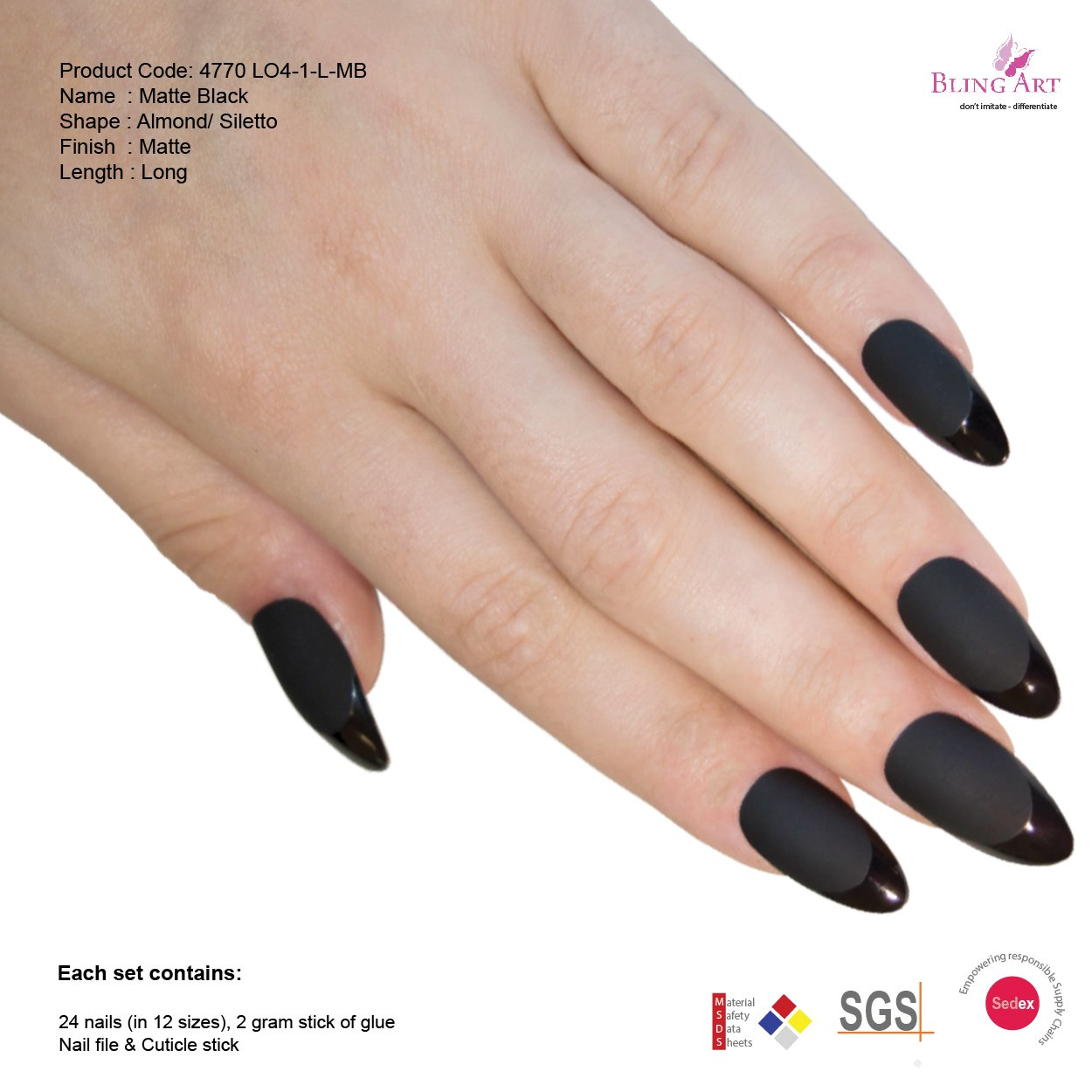 Amazon.com : Bling Art Almond False Nails Fake Stiletto Matte Black ...