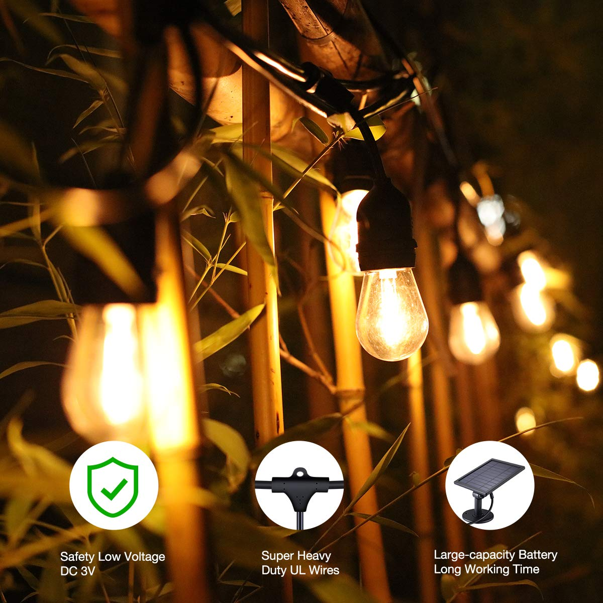 Foxlux Solar String Lights - 48FT LED Outdoor String Light - Shatterproof, Waterproof Pergola Lights - 15 Hanging Sockets, Light Sensor, S14 Edison Bulbs - Ambience for Patio, Backyard, Garden, Bistro by FOXLUX (Image #2)