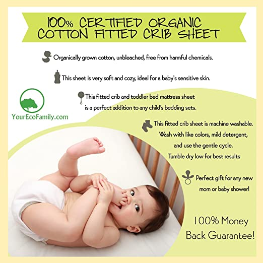 YourEcoFamily Certified Organic Cotton Fitted Crib Sheet, Beige