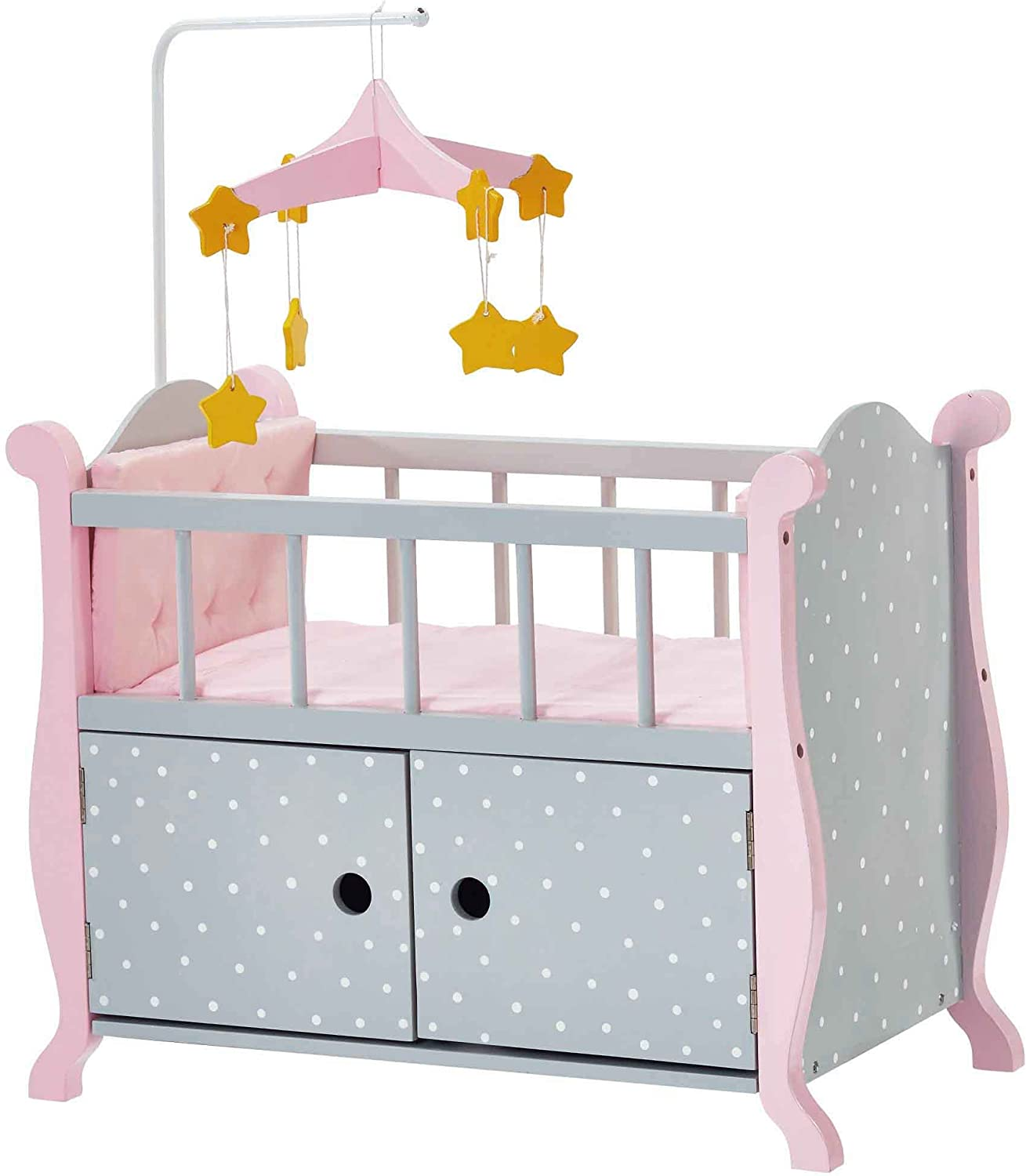 Olivia's Little World - Baby Doll Wooden Furniture with Beddings, Polka Dots Princess Nursery Crib Bed with Storage Cabinet Bedding, Gray Pink Polka Dots