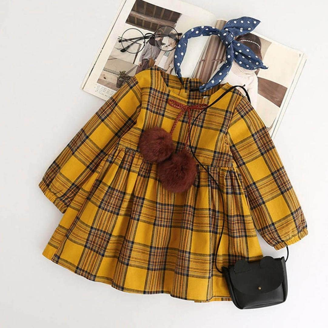 Anxinke Toddlers Little Girls Solid Long Sleeve Plaid Princess Dress with Bowknot