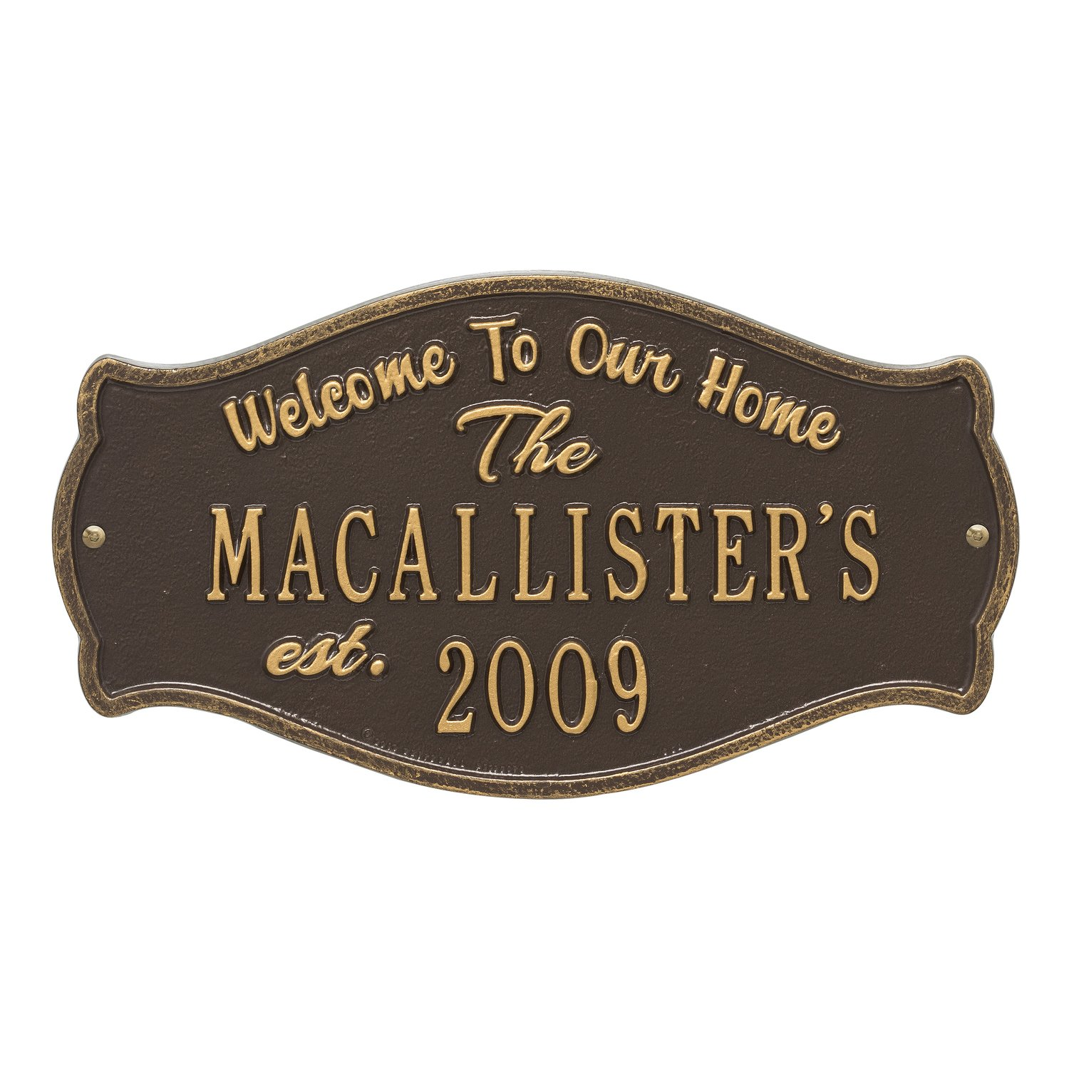 """Custom Fluted Arch WELCOME 2 Lines Anniversary Plaque 15""""W x 6""""H"""