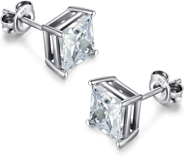Jiahanzb Pendiente Brillante Diamante Hombre Mujer Circonitas Pendientes Plata de Ley 925 4mm 5mm 6mm 7mm 8mm