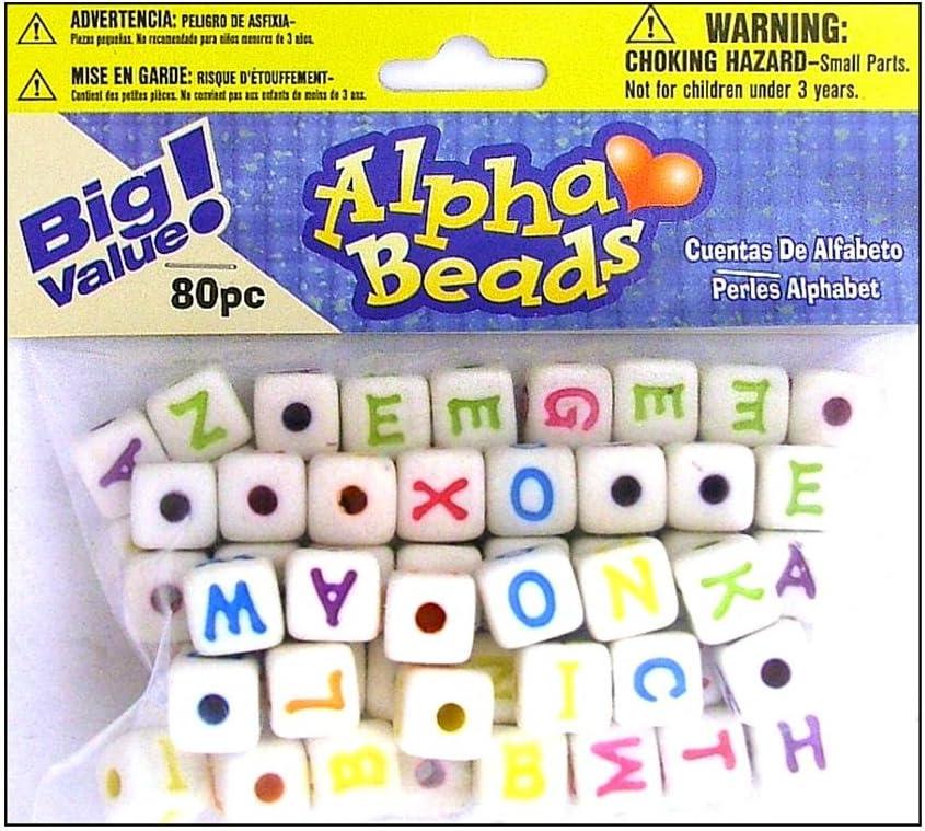 Alphabet Beads 12mm 80//pkg-white W//black Letters