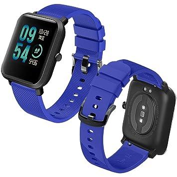 Th-some Correa para Amazfit Bip Impermeable Universal - Reemplazo de Pulsera Ajustable para Xiaomi Huami Amazfit Bip bit Lite Youth Watch, Azul Sin ...
