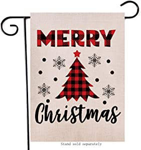 Artofy Merry Christmas Garden Flag, Decorative Xmas Outdoor Flag Sign Buffalo Check Plaid Tree, Rustic Burlap House Yard Garden Flag Winter Outside Decoration Seasonal Home Decor Flag 12 x 18