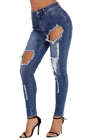 a8cca943ce7ab Lukis Femme Jeans Trous Délavé Déchirés Taille Haute en Denim Pantalon  Skinny Crayon Slim: Amazon.fr: Vêtements et accessoires