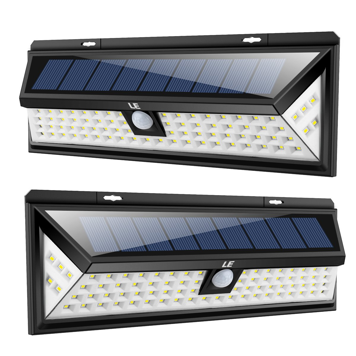 LE 80 LEDs Super Bright Solar Light Outdoor, Motion Sensor Solar Powered Lights, Waterproof Wall Lights and Wide Lighting Angle for Garage Patio Garden Driveway Yard (2 Pack)