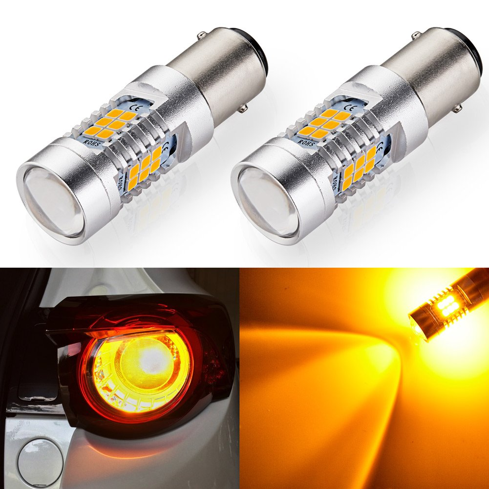 ENDPAGE 3157315630573056 LEDBulb2-pack, Amber Yellow, ExtremelyBright, 21-SMD with Projector Lens, 12-24V,Works asTurnSignalBlinker Lights ExtremelyBright