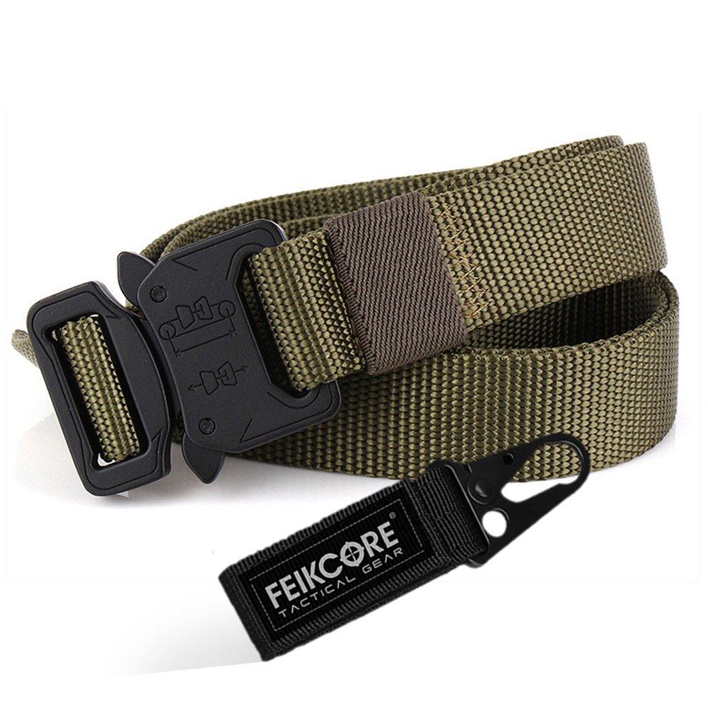 Cinturón táctico táctico al aire libre cinturón-al aire libre para hombres Heavy Duty ajustable estilo militar Cinturones de nylon con hebilla de aluminio 1.5  (Black) FEIGE