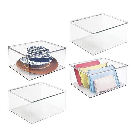 mDesign Juego de 4 cajas para ropa grandes – Cajas de plástico con tapa para ordenar