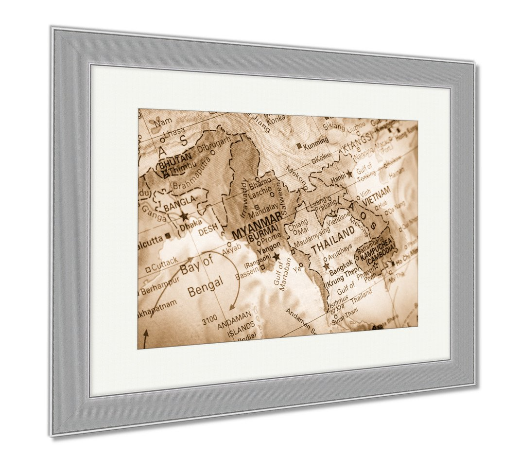 Ashley Framed Prints Vintage Map Thailand Laos Closeup Macro Image Thai Map Selective, Wall Art Home Decoration, Sepia, 30x35 (frame size), Silver Frame, AG5874958 by Ashley Framed Prints