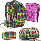 satch by Ergobag Beach Leach 2.0 4-teiliges Set Rucksack, Sporttasche, Schlamperbox & Heftebox Lila