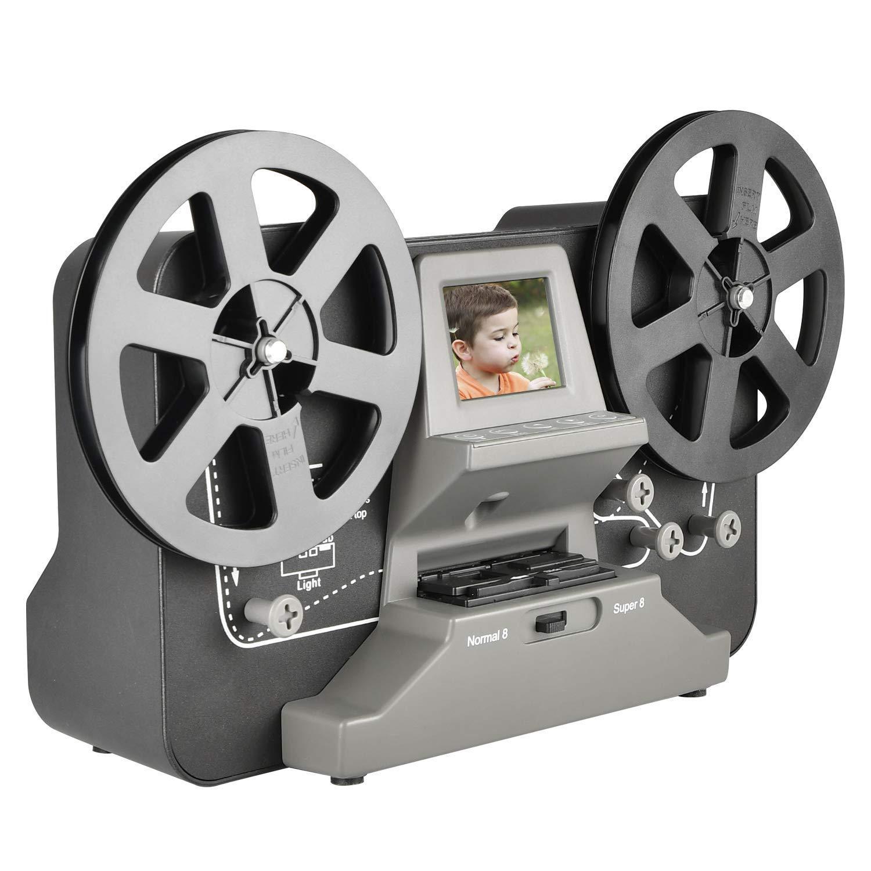 8mm & Super 8 Reels to Digital MovieMaker Film Sanner,Pro Film Digitizer Machine with 2.4'' LCD, Black (Film 2 Digital Movie Maker&8mm Film Scanner) with 32 GB SD Card by eyesen