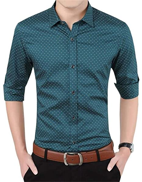 4a11cacf9dff AIYINO Mens Slim Fit Long Sleeve Plaid Printings Business Checked Shirt   Amazon.co.uk  Clothing