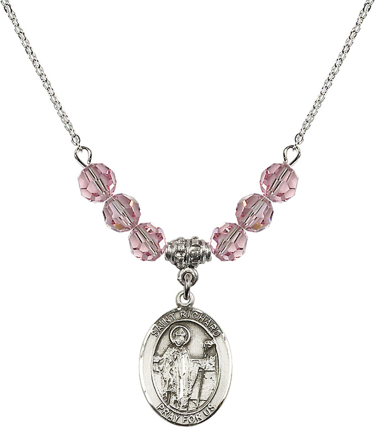 Bonyak Jewelry 18 Inch Rhodium Plated Necklace w// 6mm Light Rose Pink October Birth Month Stone Beads and Saint Richard Charm