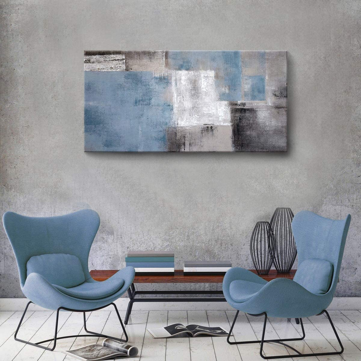 """SDYA Blue Abstract Wall Art Hand Painted Oil Painting on Canvas Framed 48"""" W x 24"""" H Large Colorful Modern Artwork Wall Art for Living Room Bedroom Office Hotel and Dining Room"""