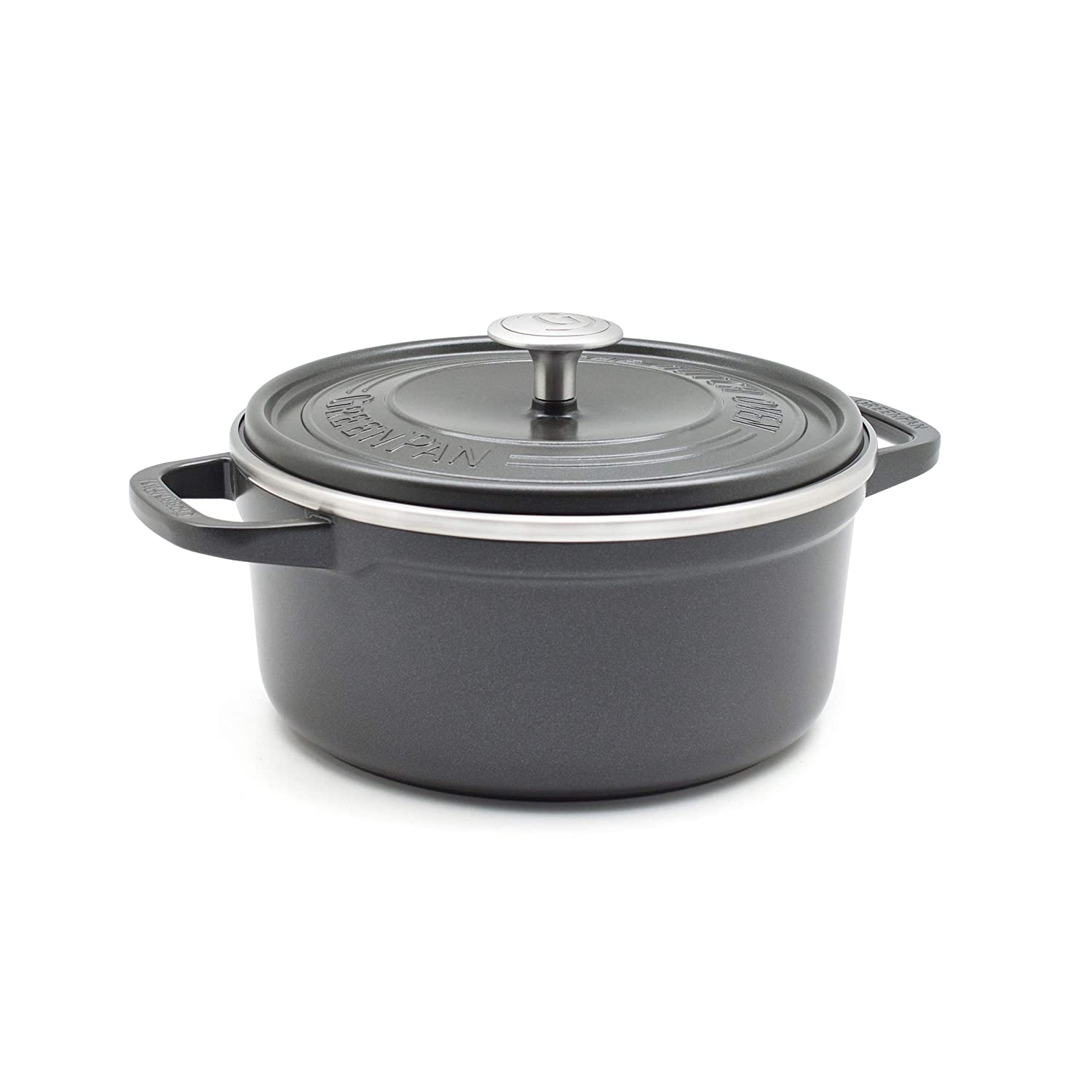 GreenPan CC001927-001 SimmerLite 1 Dutch Oven with Lid 3.5QT Slate