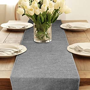 Table Runner, Gray Burlap Table Runners for Modern Coffee Table, Farmhouse Table Runner Bedroom Dressers Rustic TV Stand Entry Table Desk Living Room Decor Wedding Prarty 12 x 108 Inch Table Runners-1