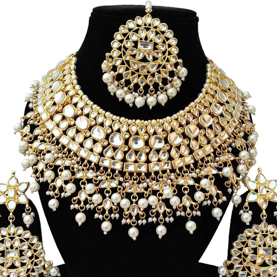 Fkraft Meena Kundan Gold Plated Latest Wedding Designer Choker Necklace Jewelry Earrings Tikka Set