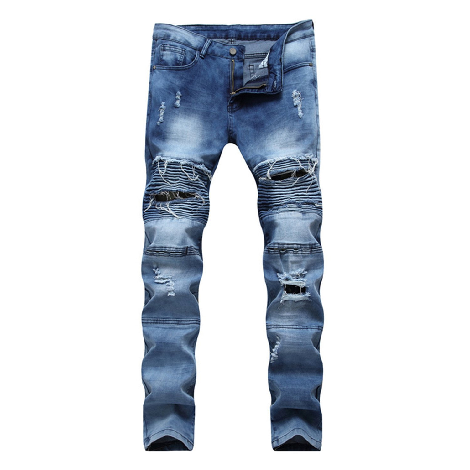 George Gouge New Arrival New Mens Biker Jeans Ripped Distressed Motorcycle Jeans For Men Brand Clothes Blue Black