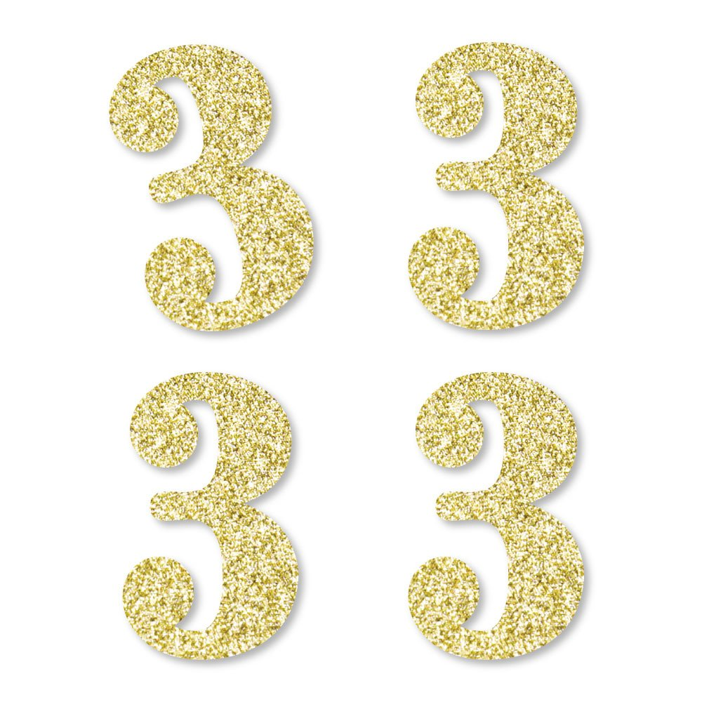 Gold Glitter 3 - No-Mess Real Gold Glitter Cut-Out Numbers - 3rd Birthday Party Confetti - Set of 24