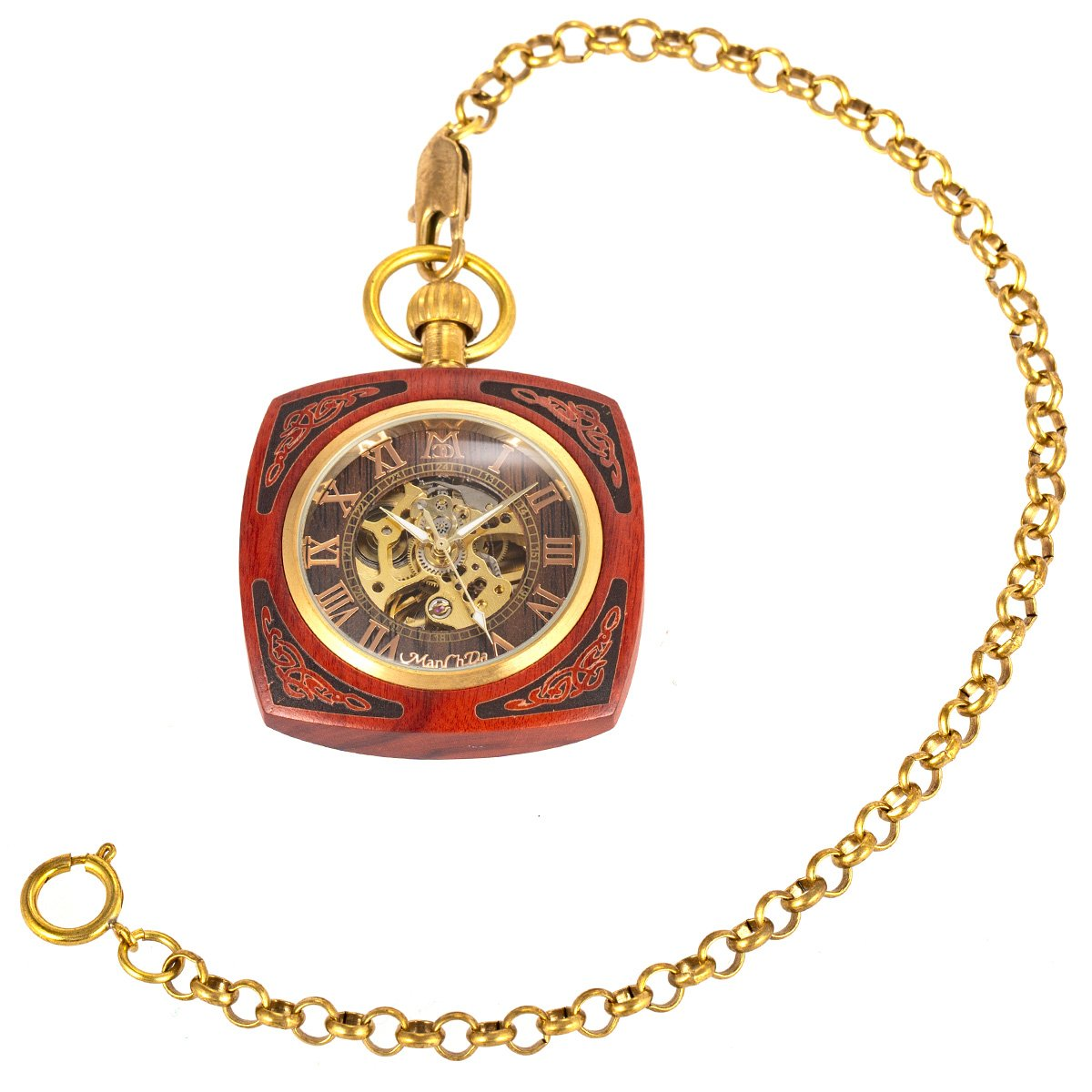 ManChDa Roman Copper Wooden Steampunk Mechanical Skeleton Pocket Watch With Chain Gift Box (4.Square Shape Roman Copper Red Wooden) by ManChDa (Image #5)