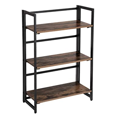 SONGMICS Vintage Bookcase, 3-Tier Folding Ladder Shelf, Portable Storage Rack Shelf, Easy Assembly Wood Look Accent Furniture with Metal Frame for Home Office, Vintage ULLS66X