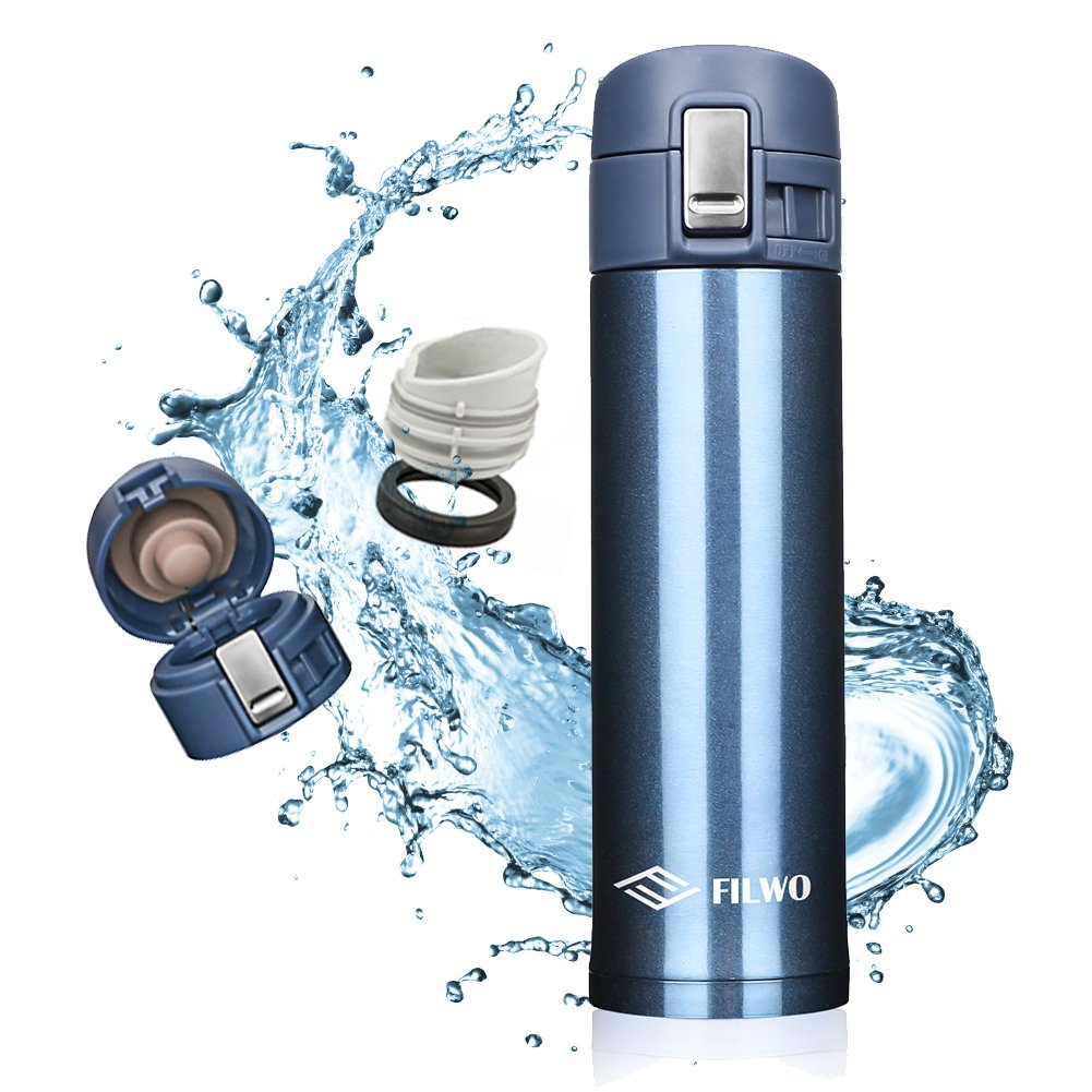Stainless Steel Water Bottle, FILWO Double Wall Vacuum Insulated Travel Mug 100% Leak & Sweat Proof BPA Free, Cold 24 Hrs / Hot 12 Hrs Perfect for Camping,Cycling,Gym,17 oz Vacuum Flask (Blue)