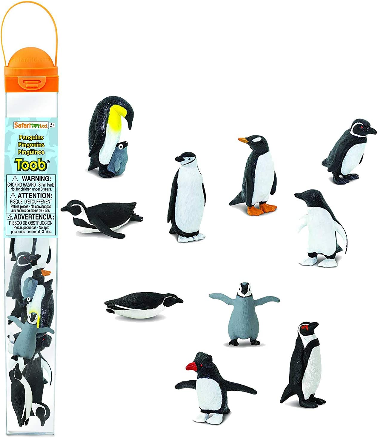Safari Ltd Penguin TOOB With 10 Fun and Flightless Figurines, Including Gentoo, Humboldt, Chinstrap, Rockhopper, Galapagos, Adelie, Swimming, Sliding, Baby, And Penguin With Baby Ages 3 And Up