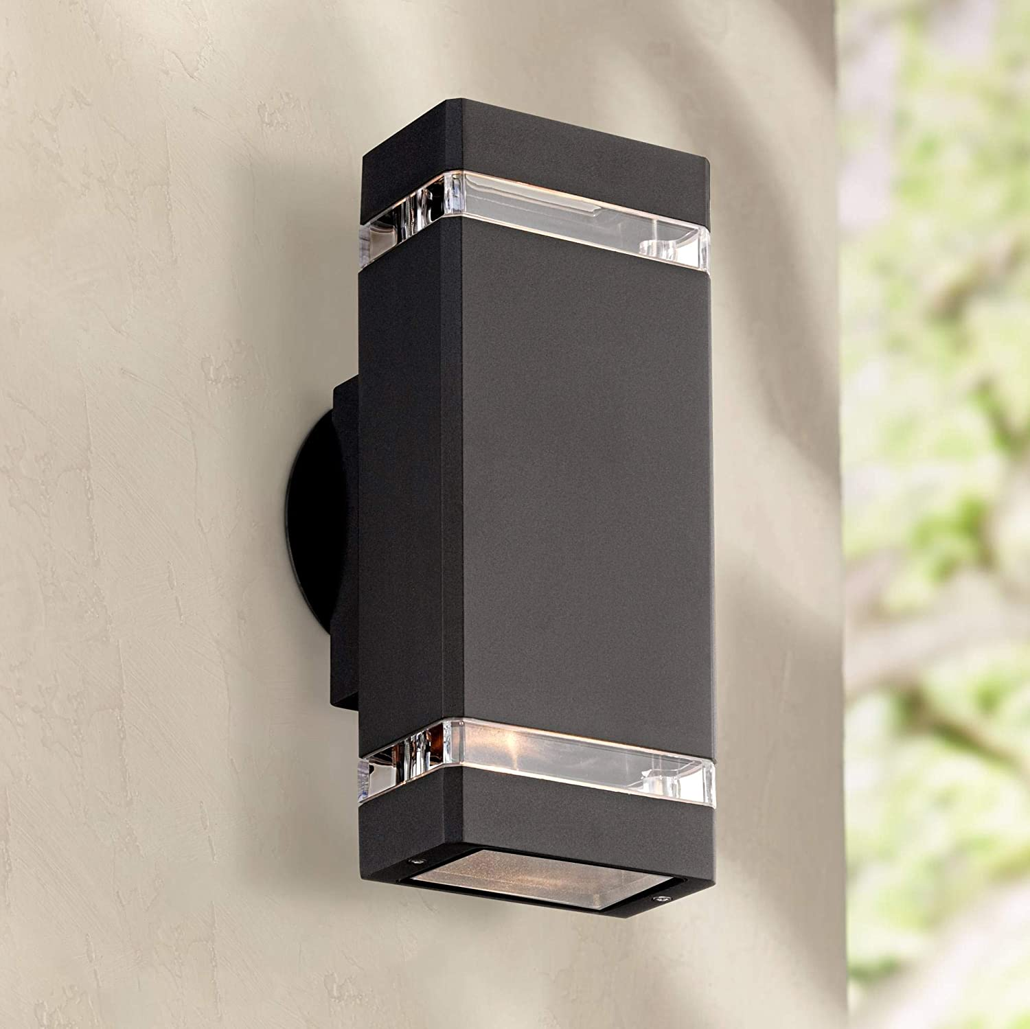 Skyridge modern outdoor wall light fixture black 10 1 2 rectangular glass up down for house porch patio possini euro design