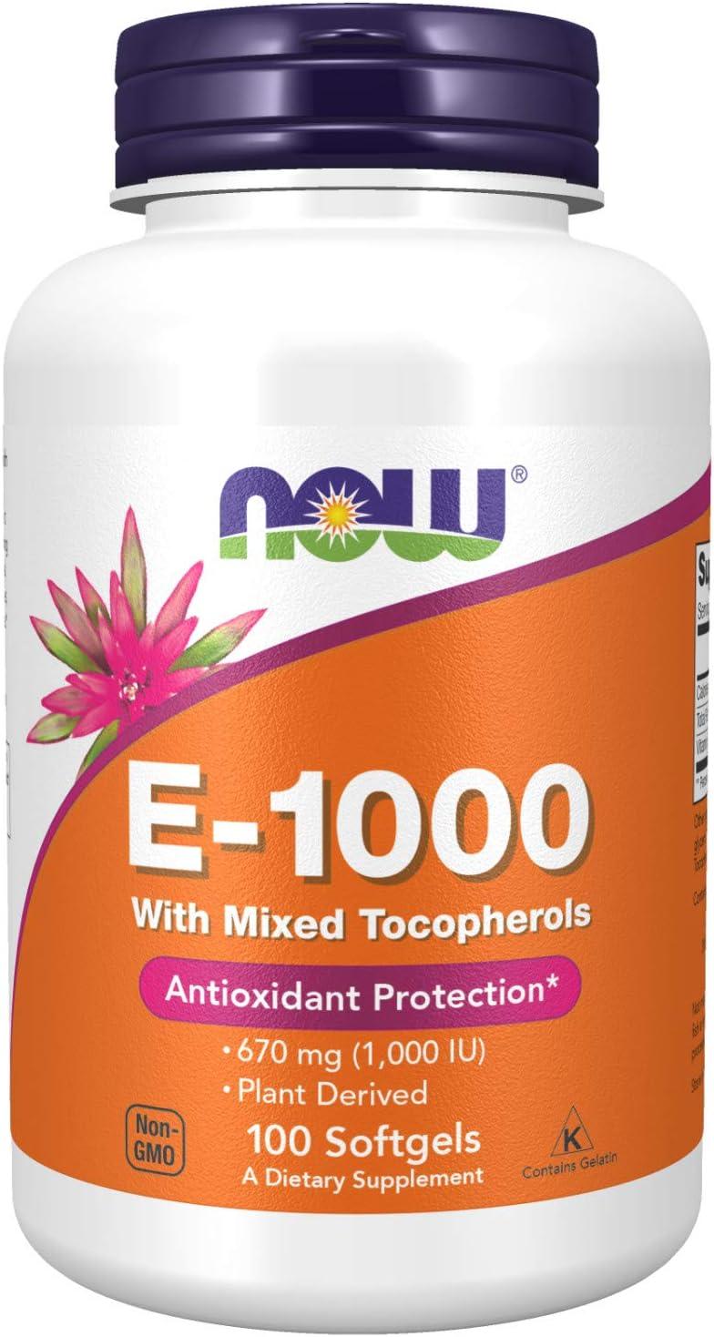 NOW Supplements, Vitamin E-1,000 IU Mixed Tocopherols, Antioxidant Protection*, 100 Softgels
