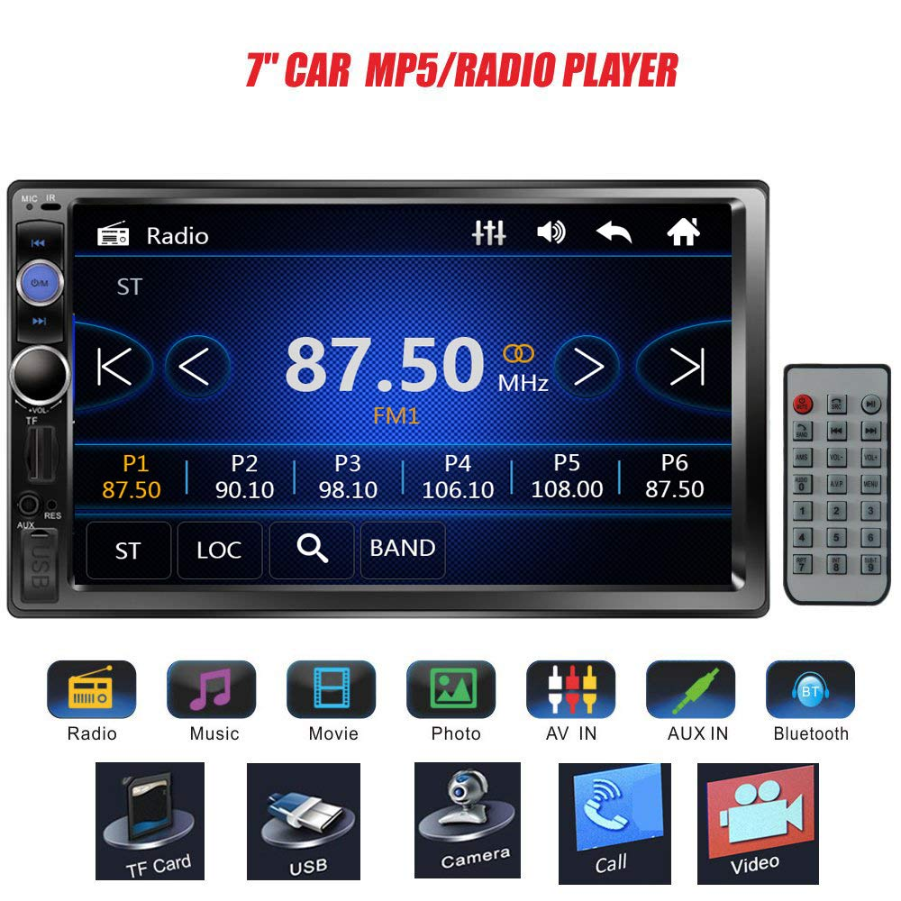 Regetek 7'' Double DIN Touchscreen in Dash Bluetooth Car Stereo Mp3 Audio 1080P Video Player FM Radio/AM Radio/TF/USB/AUX-in + Remote Control by Regetek