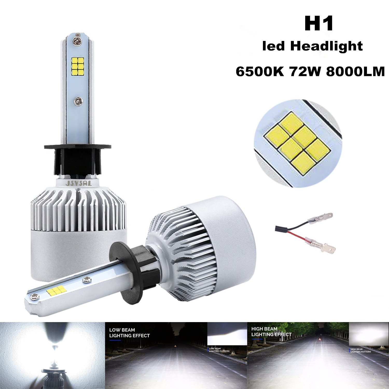 Xenon White H7,CSP Chips 8000lm 6000K ,2 Yr Warranty JS-H7-CSP-CW JSVSAL LED Headlight Bulbs Conversion Kit