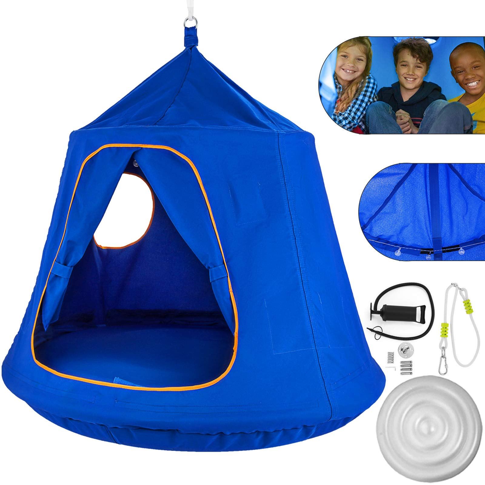 Mophorn Hanging Tree Tent 45 diam x 54 H Hanging Tent Swing Tent Waterproof Hanging Tree&Ceiling Hammock Tent Green Kids Outdoor Tents Playhouses (Blue) by Mophorn (Image #1)