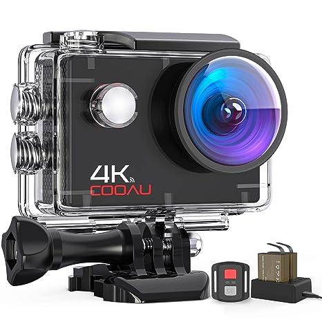 COOAU Cámara Deportiva 4K WiFi 16 MP con Control Remoto, Camara Accion Acuatica de 40M con 2 Baterías y Cargador Externo, Función EIS Anti-vibración y ...