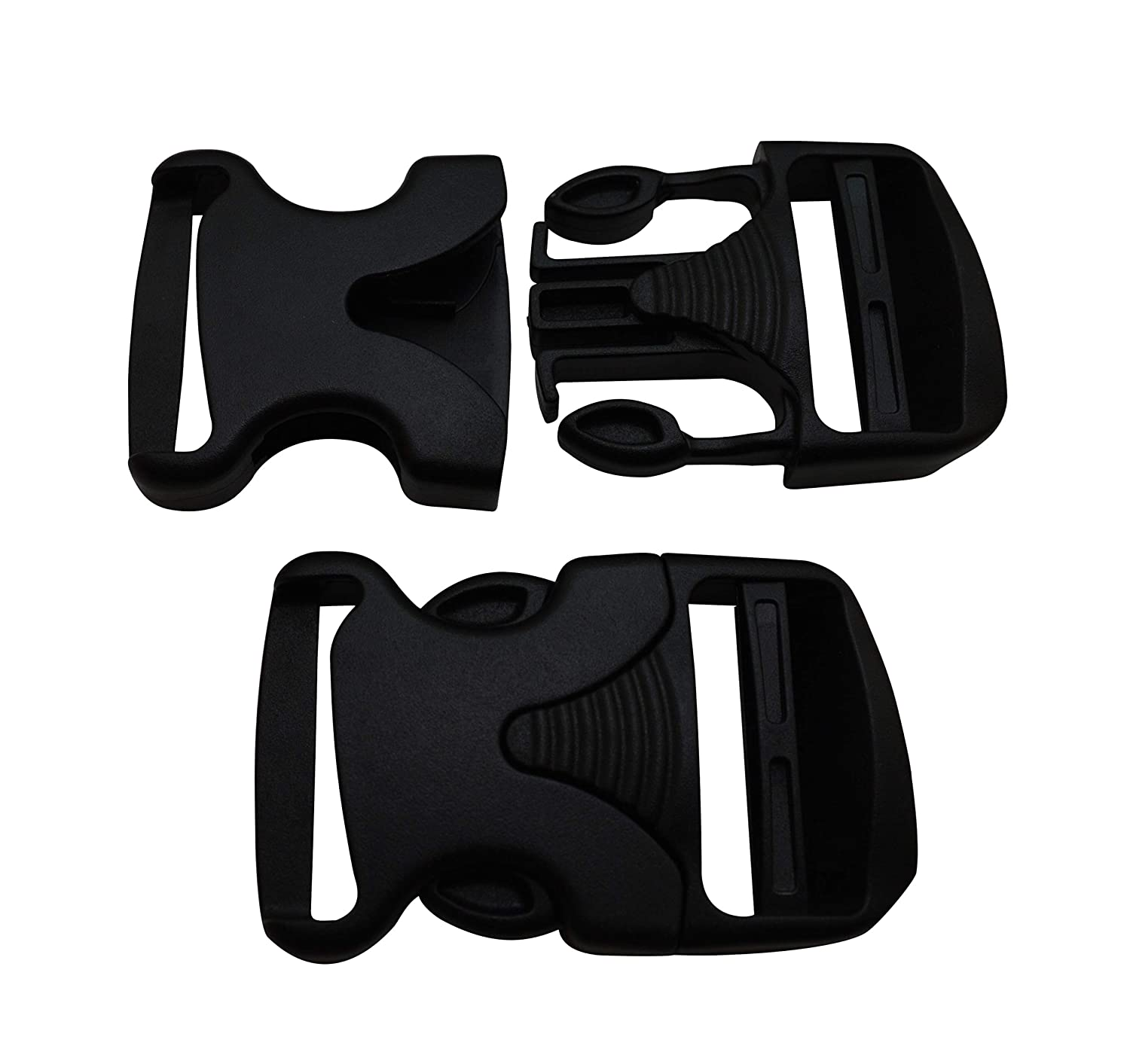 Wuuycoky 1.5 Inner Width Black Plastic Curved Side Release Buckle One Side Adjustable