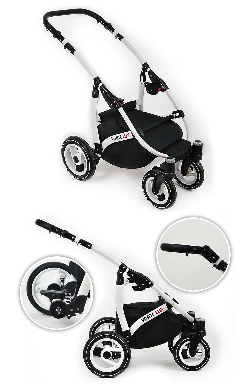 Kinderwagen whitelux Set Wanne Buggy Babyschale GRAU//SILVER 3 in 1
