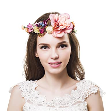 Womens Flower Crown Handmade Wedding Garland Wreath Headband Hair Band Hair  Accessories Ever Fairy (Flower 13e1ab76359