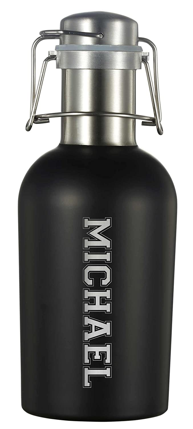 Personalized Visolブラックマット32ozビールGrowler with彫刻 B0746Q26Y6