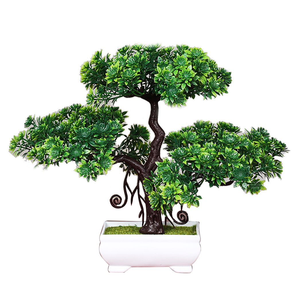 Justdolife Bonsai Tree Green Table Plant Fashionable Lifelike Pine Artificial Potted Plant Desk Decoration