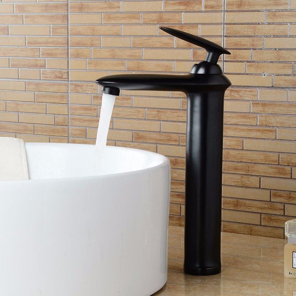AQiMM Waschtischarmatur Wasserhahn Waschbecken Schwarzes Öl Eingerieben Bronze Warmes Und Kaltes Wasser Keramik Einzelne Bohrung Der Einhebelsteuerung  Badezimmer Mischbatterie