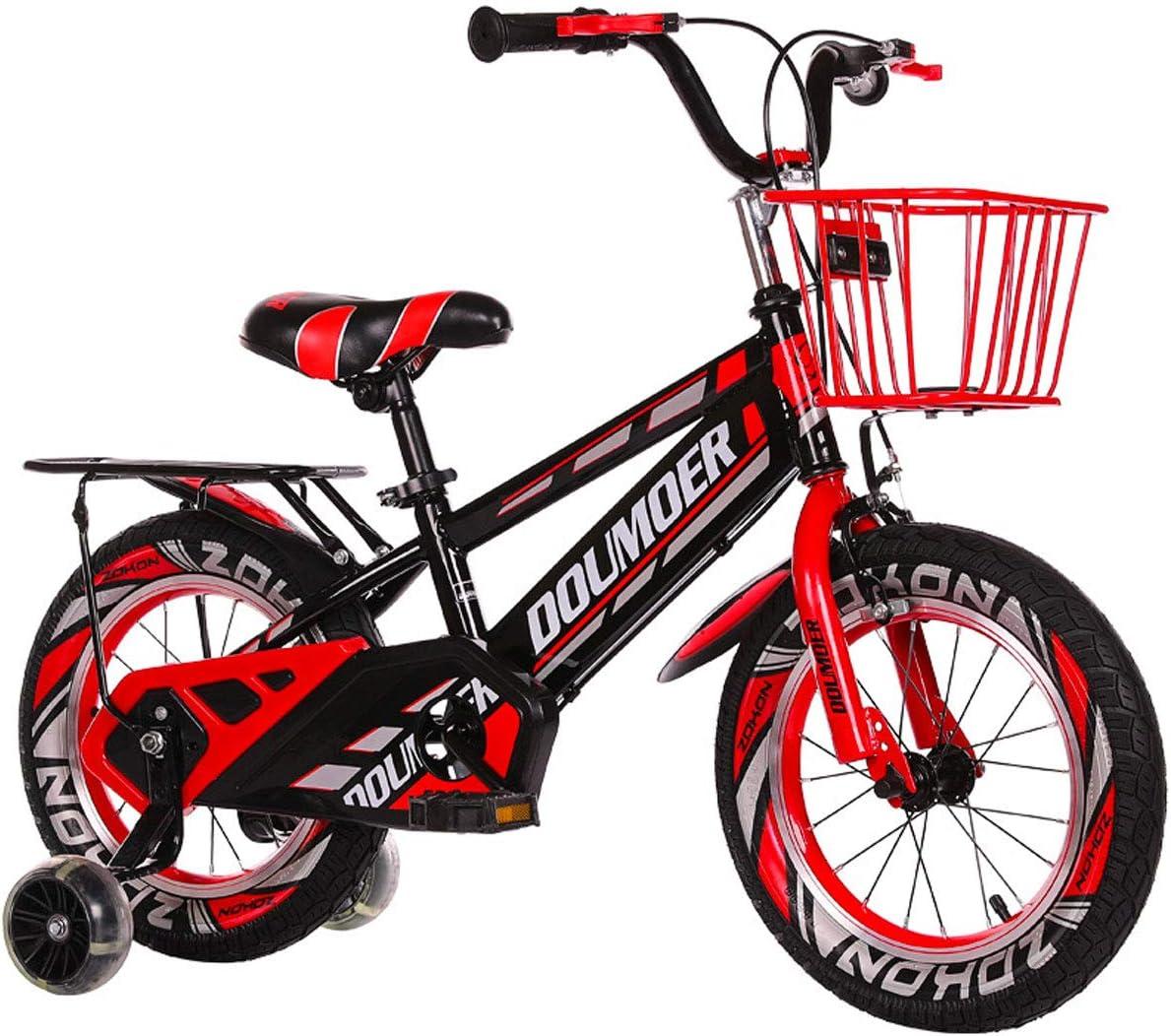 JHGK Bicicleta Infantil con Asiento Trasero Abierto, 12/14 Pulgadas De Coches con Flash Auxiliar Ruedas, Chasis Espesado De Acero Al Carbono, Bicicletas 3-7 Años De Los Niños,Rojo,14 Inch
