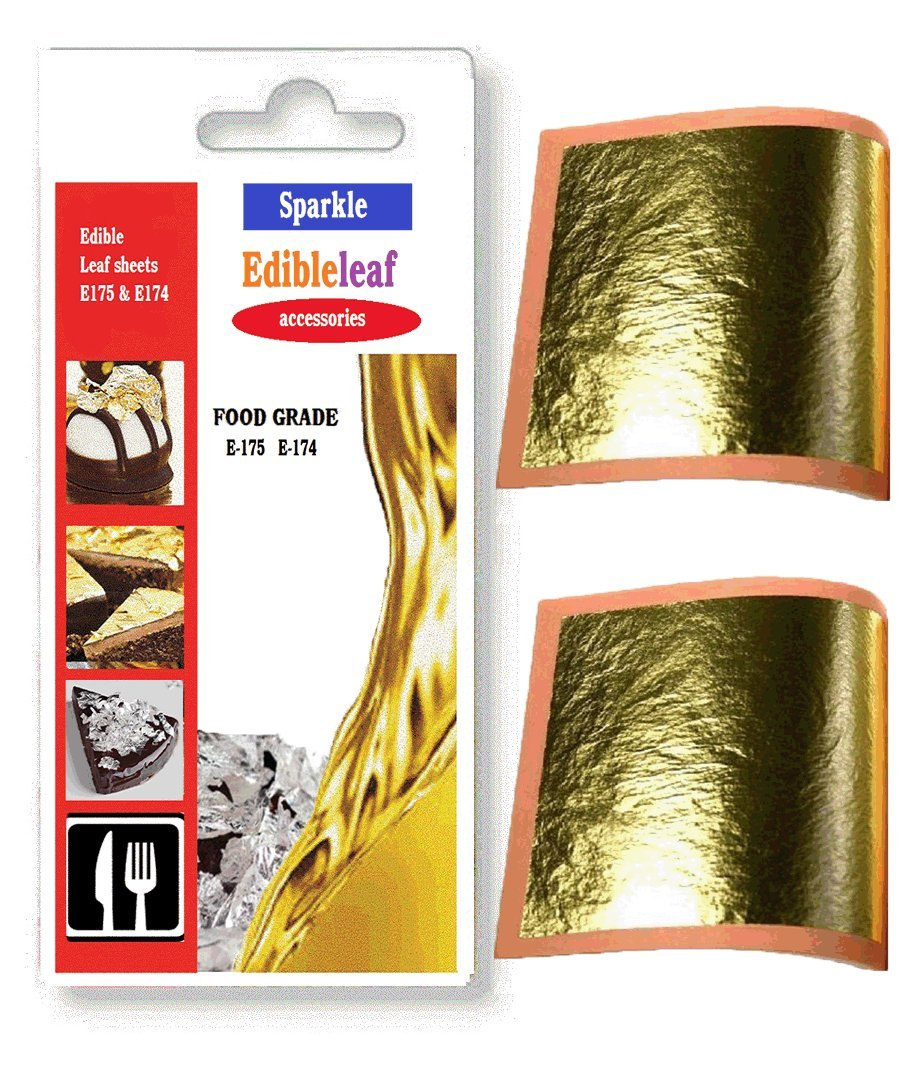 (E175) edible 24ct genuine 5 sheets gold leaf 30mm x 30mm edible pure gold