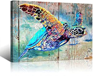 Sea Turtle Bathroom Wall Decor Canvas Prints Life Teal Watercolor Painting Beach Theme Artwork 1 Panels Framed for Bedroom Living Room Bedroom Home Office Decorations 16x24x1 Turtle wall art Baby
