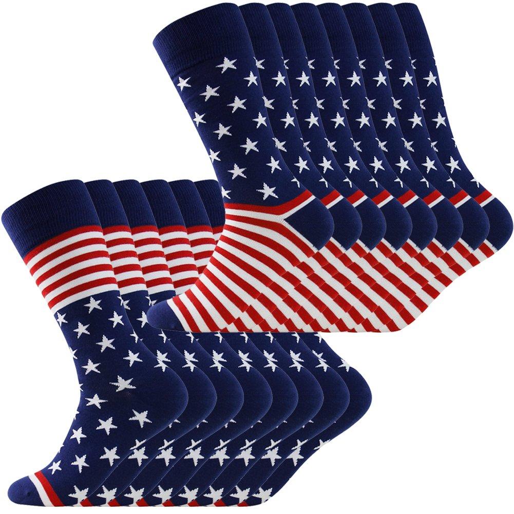 American Flag Socks, LANDUNCIAGA Men's Boots Knee High Gift Novelty Fashion Americana Patriotic Socks Cotton Wedding Socks Groom Groomsmen Crew Socks,8 Pack by LANDUNCIAGA
