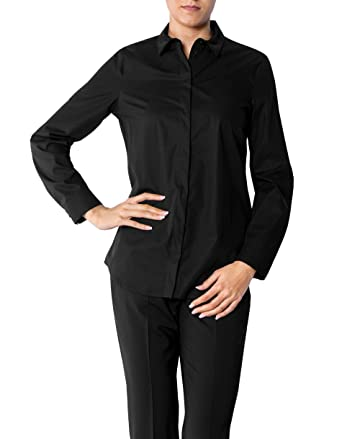 40a167fefacd Joop! Damen Bluse Baum Wolle Blusenshirt Unifarben, Größe  40, Farbe   Schwarz  Amazon.de  Bekleidung