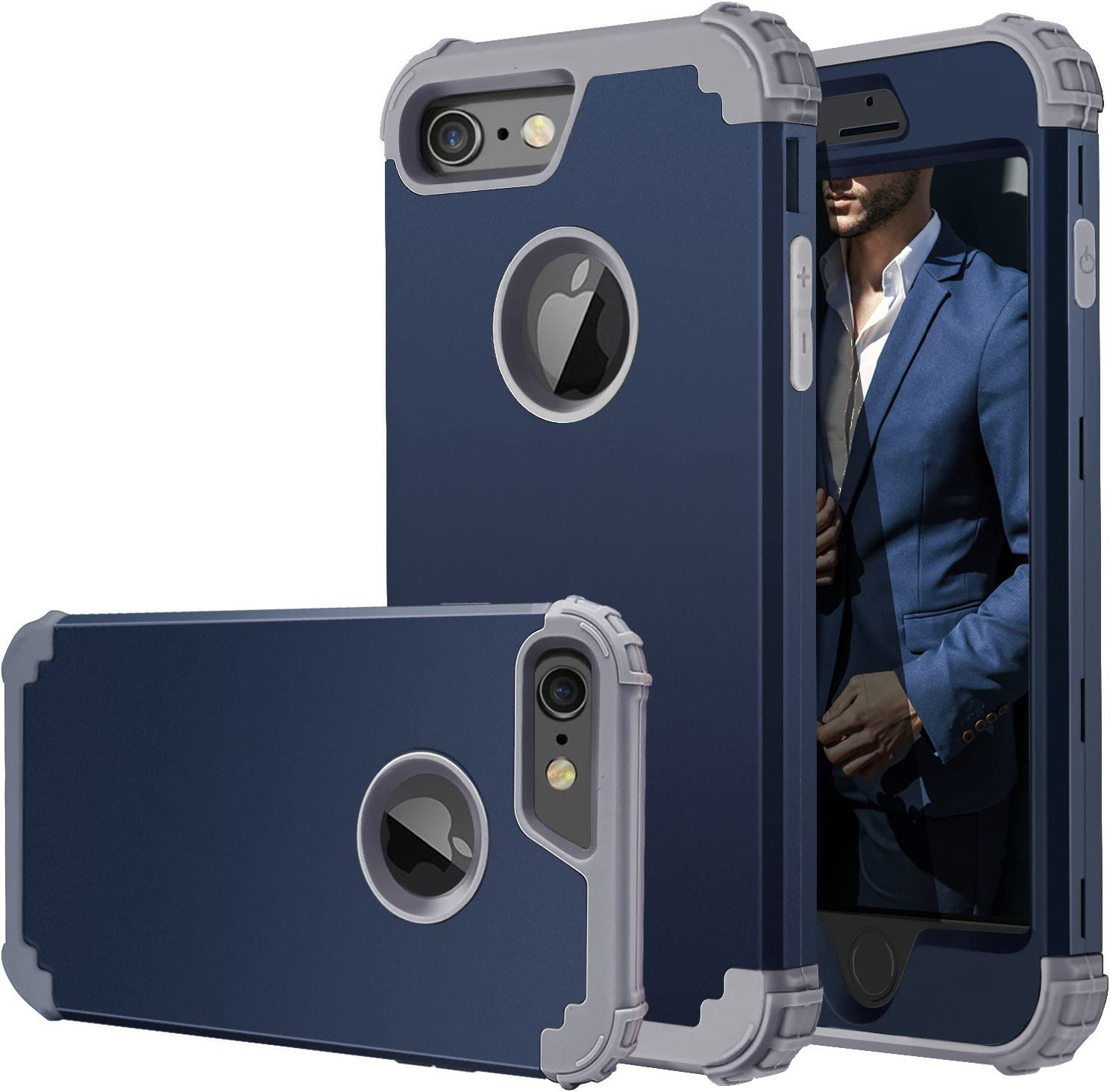 iPhone 6 Case,iPhone 6s Case,Fingic Full-Body Cover 3 in 1 Hybrid Hard PC & Soft Silicone Heavy Duty Rugged Bumper Shockproof Protective Phone Case for iPhone 6/6S (4.7 inch),Navy Blue+Gray